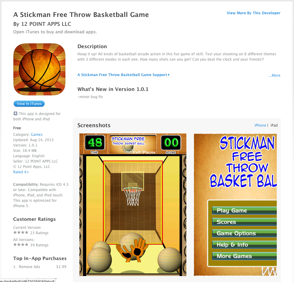 Stickman Free Throw Basketball Game