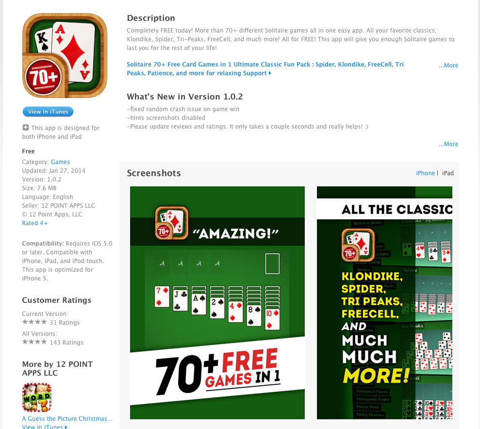 solitaire classic card game for iphone and ipad